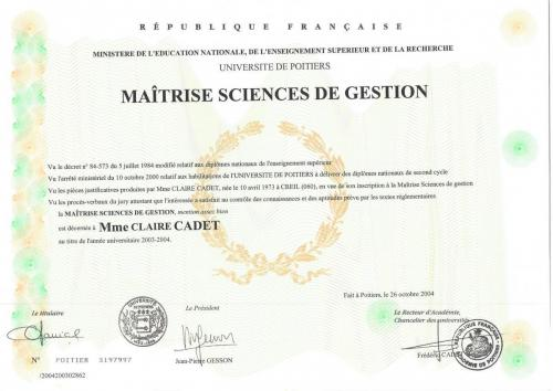 Maitrise sciences de gestion