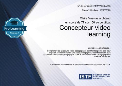 Certificat concepteur video learning